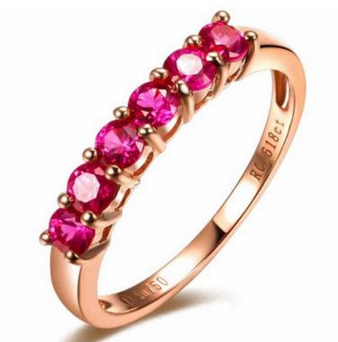 18K玫瑰金红宝石戒指定制18K红宝石戒指生产厂家