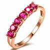 18K玫瑰金红宝石戒指图片