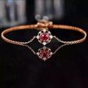 高端珠宝定制新款18K玫瑰金天然红宝石镶嵌钻石手链饰品女首饰批发 18K金天然红宝石镶嵌钻石手链
