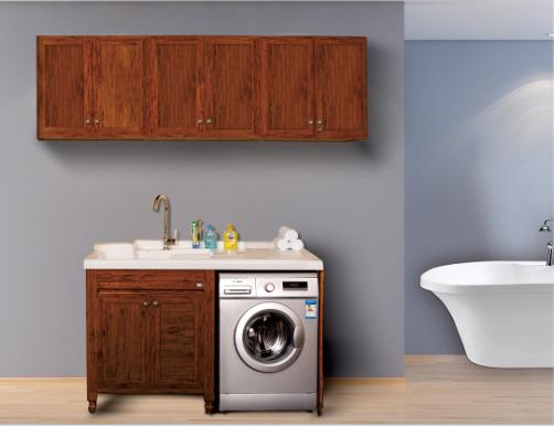花梨木全铝洗衣柜、左盆洗衣柜、右盆洗衣柜、非标定制洗衣柜、