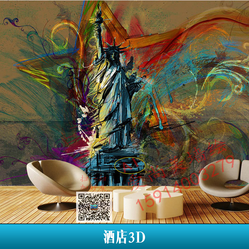 深圳爱尚美艺术工程酒店3D墙绘纯手绘立体背景墙壁画设计施工