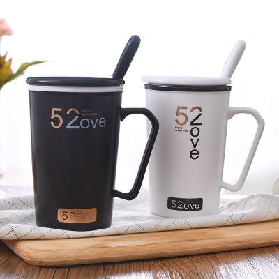 520情侣杯陶瓷马克杯1314带盖带勺创意陶瓷杯子带盖办公室咖啡杯
