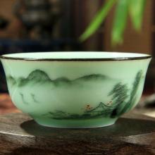 梅子青青瓷功夫茶具手彩手绘浮雕双鱼普洱茶杯创意水杯品茗杯 手绘浮雕双鱼茶杯