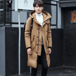 冬季修身大毛领加厚中长款羽绒衣图片