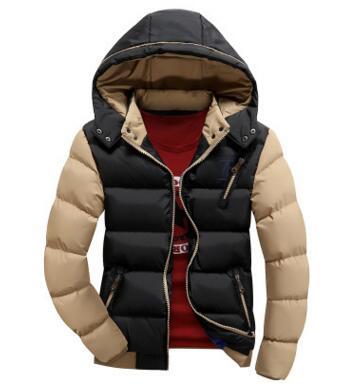 冬季潮男修身短款加厚连帽棉衣