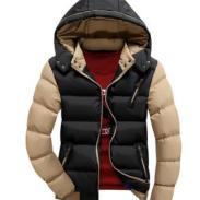 冬季潮男修身短款加厚连帽棉衣图片