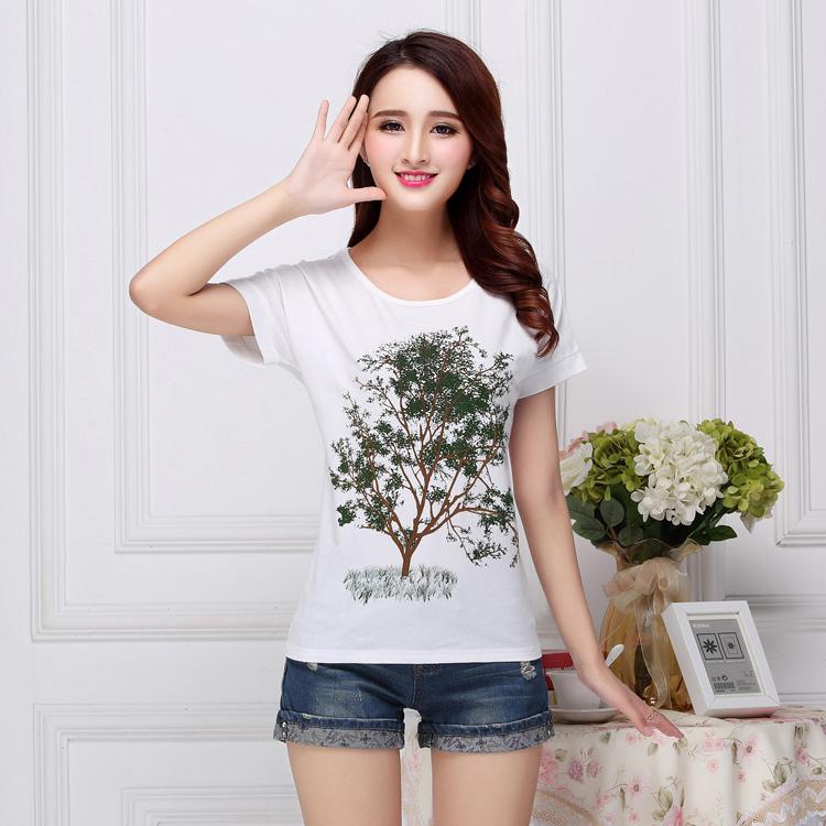 韩版短袖印花T恤厂家供应女装订做 货源充足 可来样加工或贴牌生产