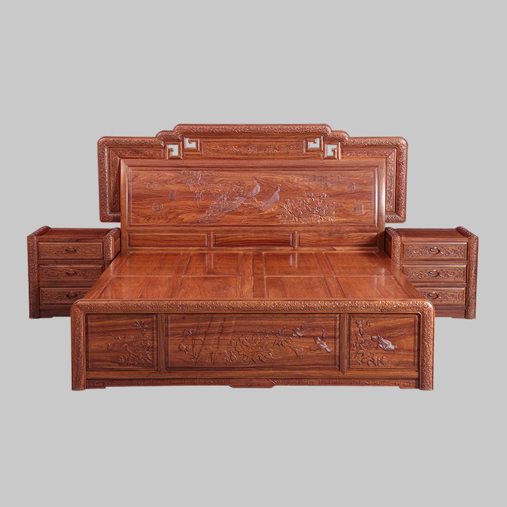 东阳红木大床花梨木实木双人床1.8米国色天香大床中式古典红木床