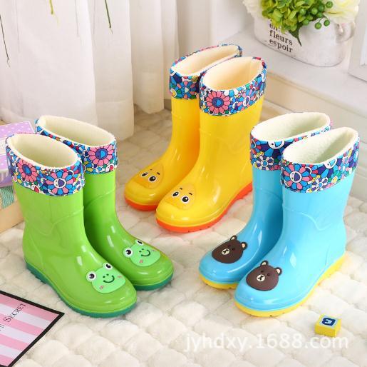新款高筒中大儿童雨鞋雨靴卡通学生销售