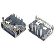 供应USB短体10.0母座3A大电流二脚90度直边黑胶6.3