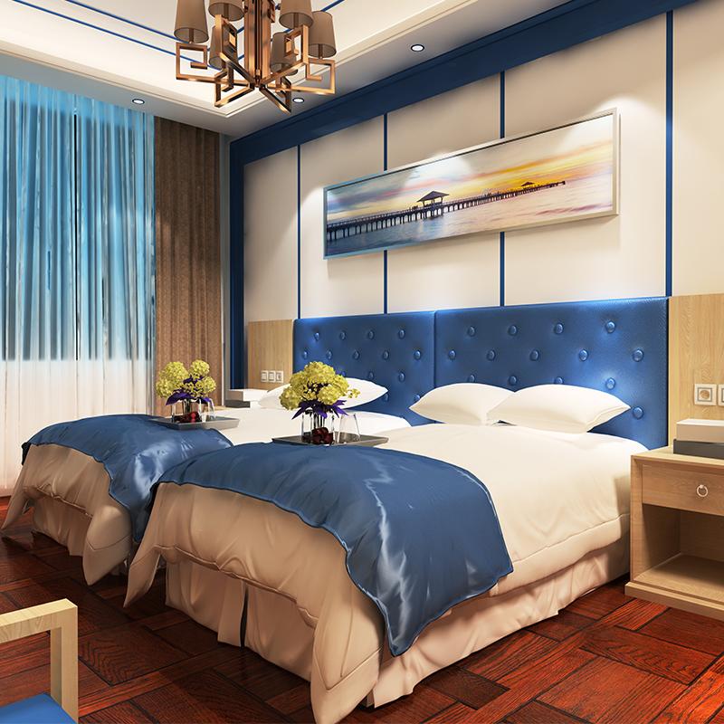 地中海风格宾馆客房公寓软包床头床架子 快捷酒店标间家具全套