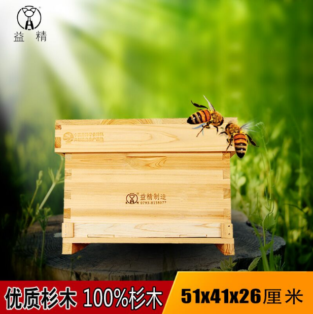 益精牌杉木无缝单层箱体中蜂箱51×41 蜂具 养蜂工具 十框蜂箱 中标十框标准巢箱 无缝单层巢箱