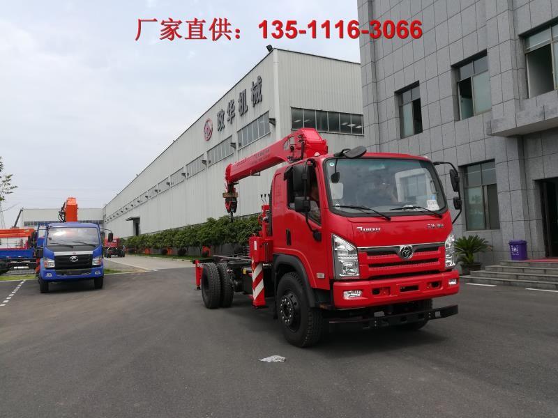 8吨前后驱动随车吊排半创客汽车吊八吨昊天吊机可带四红色可带翻斗