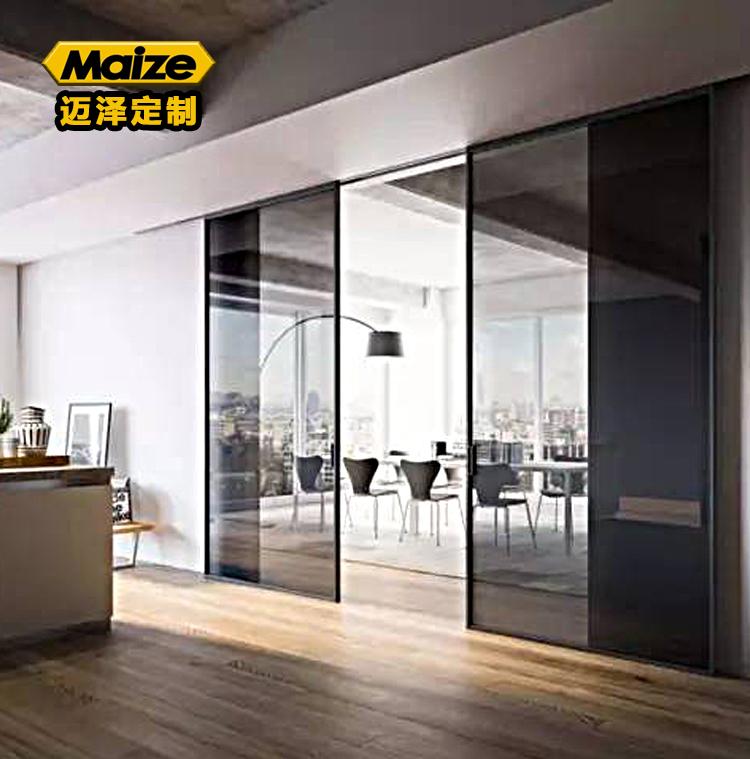 超窄边黑框玻璃门 超窄边黑框玻璃移门推拉门