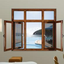 豪百顺门窗_窗纱一体平开窗定制 126-80断桥铝窗纱一体平开窗
