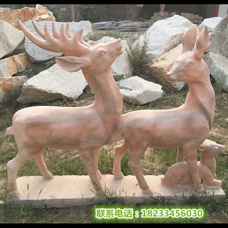 石雕小鹿母子鹿晚霞红摆件动物雕塑厂家供应