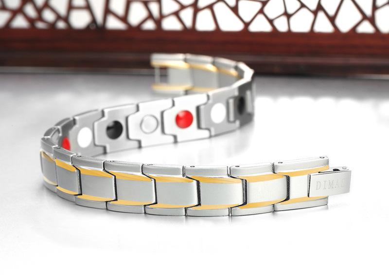 现货银加金手链 四合一磁石能量手链 不锈钢保健磁性手链