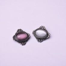 上海春晓饰品装饰925纯银饰品厂 流行中国风刺绣宝石几何胸针