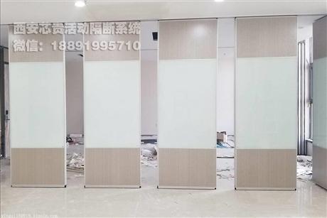 西安厂家会议室超白焗漆玻璃移动隔断