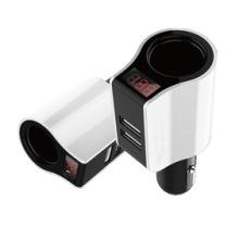 带显示屏手机车载充电器 点烟器双USB多功能汽车通用智能车充批发