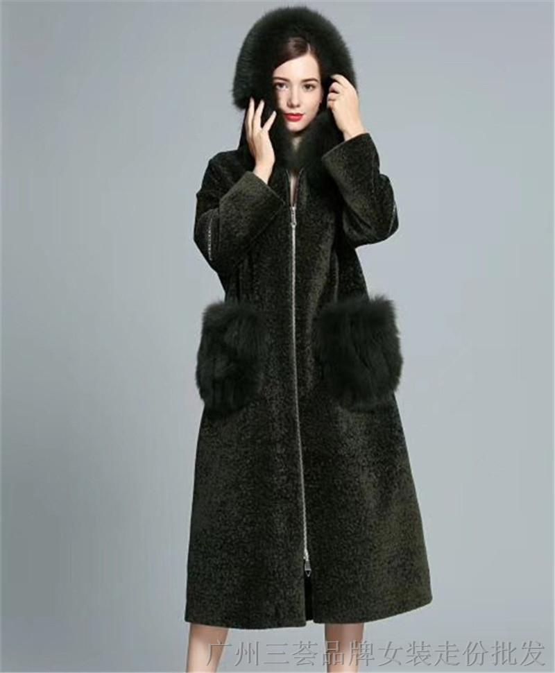 高端大衣一线品牌银钻世家羊剪绒大衣女装折扣批发厂家供应