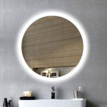 无框圆形壁挂防雾LED灯镜智能卫浴镜子浴室镜带灯外透光镜 外发光无框镜批发