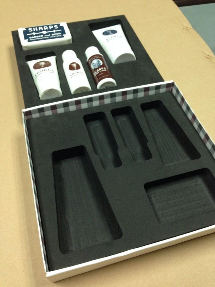 EVA化妆品盒内植绒雕刻包装 EVA包装内托