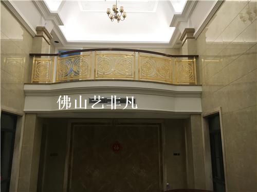 长治定制酒店铝楼梯护栏 玫瑰金扶手护栏