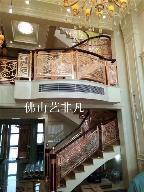 无锡旋转楼梯铝板雕刻护栏,高工艺雕花铝板旋转楼梯护栏生产