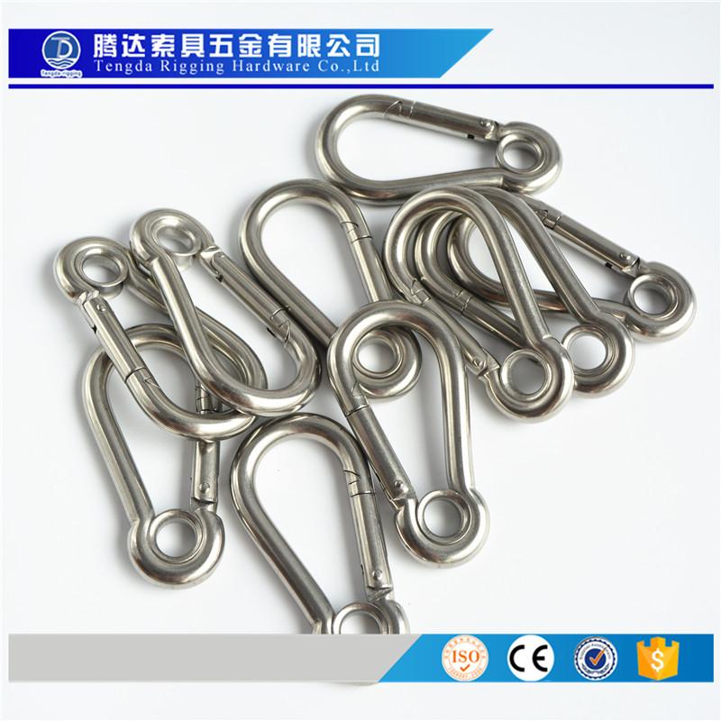 厂家供应304 316不锈钢带圈弹簧钩 登山扣 钢丝绳连接扣 M4-M14