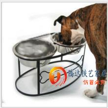 铁艺狗碗双盆狗食架 狗吃饭碗盆架
