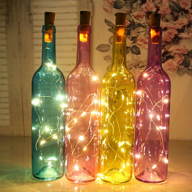 新品发光玻璃瓶led灯串瓶子创意工艺品装饰红酒瓶酒吧彩色发光灯图片