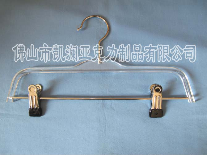直销创意亚克力有机玻璃衣架 透明水晶单杠式带夹子 可加工定做