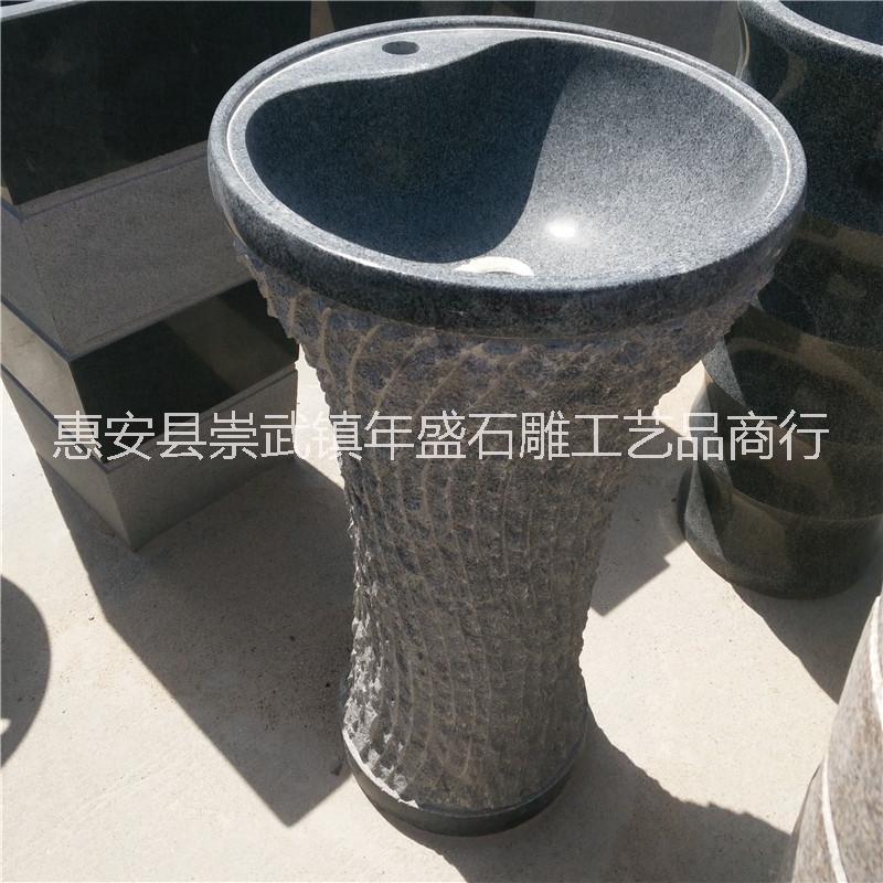 花岗岩石雕洗手盆室内家居别墅装饰摆件 一体式立柱创意洗手台