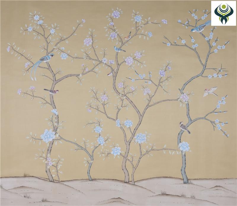 供应丝绸手绘墙纸 【厂家直销】 无锡琴棋壁画 13912479719