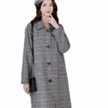 毛呢外套女秋冬新款2018格子大衣韩版中长款毛呢大衣女大码显瘦