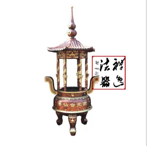 圆形龙柱寺庙香炉 铸铁圆形带盖香炉