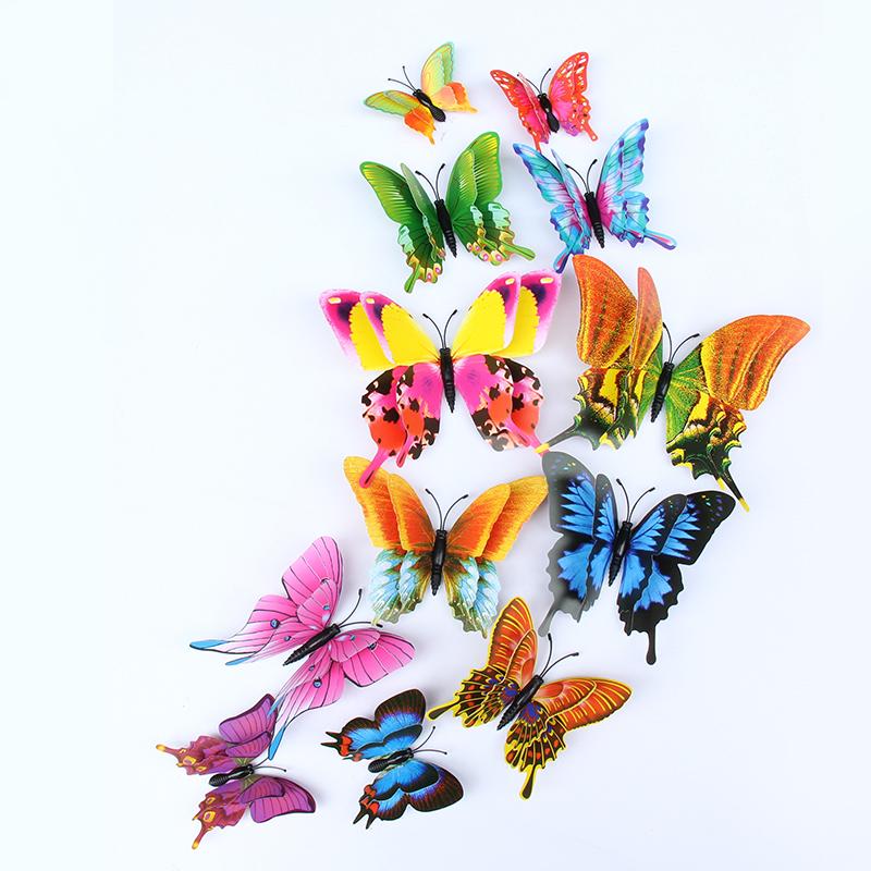 彩色凤尾蝶客厅蝴蝶贴画可移除儿童房背景墙装饰厂家批发