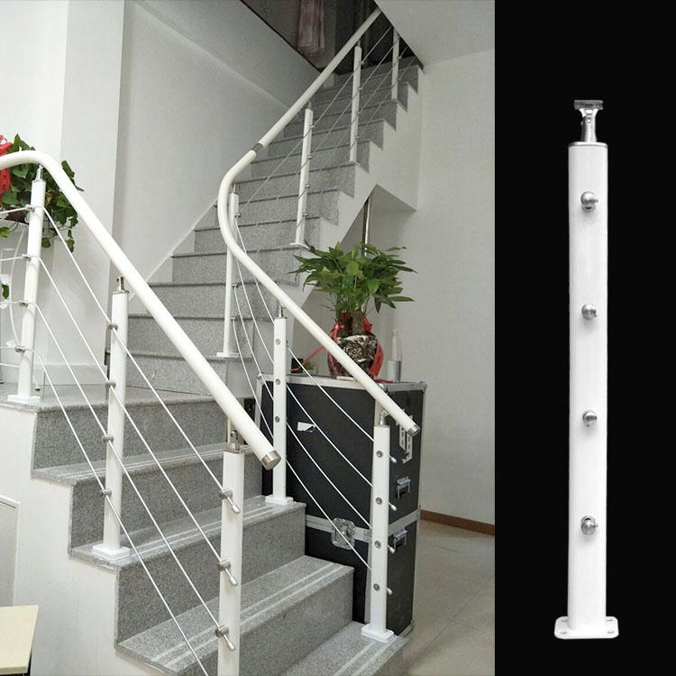 厂家供应简约白色碳钢材质楼梯阳台护栏立柱
