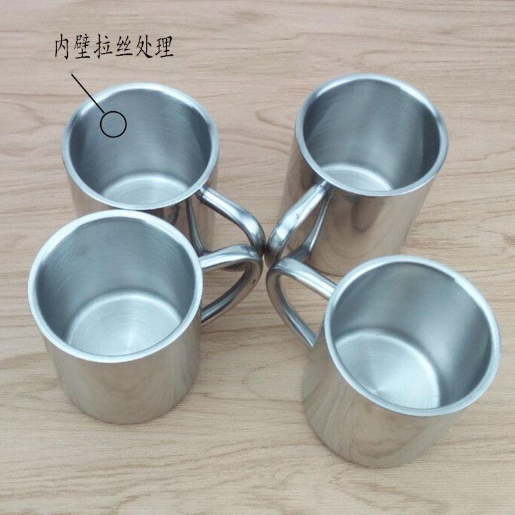 小口杯双层不锈钢隔热咖啡杯马克杯带把广告杯儿童礼品水杯可加工定制