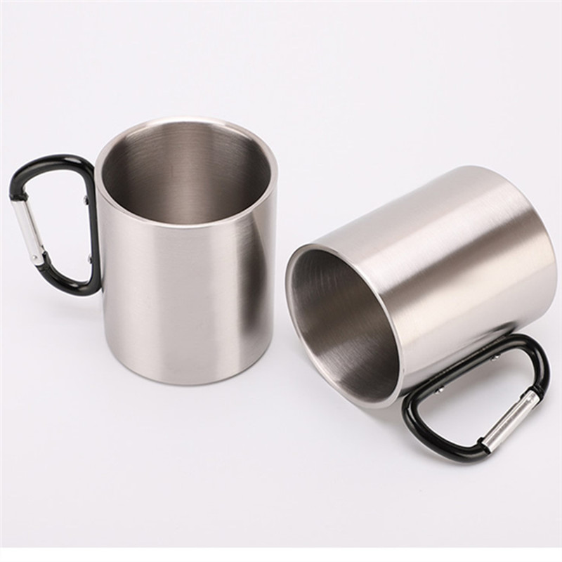 登山扣杯220不锈钢杯子带锁扣登山杯子户外运动野营便携水杯咖啡杯啤酒杯
