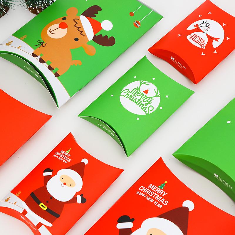 红色圣诞包装盒包装盒厂家批发卡纸包装盒卡通糖果礼品盒现货礼品盒盒定做 包装盒子材料包装盒 枕头盒包装盒