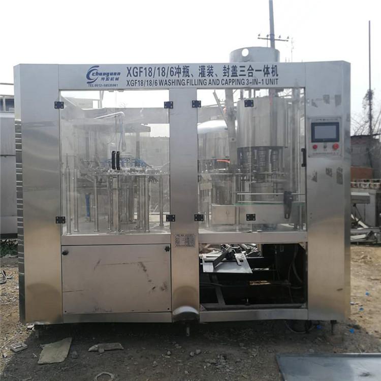 出售二手灌装机 饮料矿泉水三合一灌装机 饮料 果汁矿泉水三合一灌装机 二手反渗透水处理设备