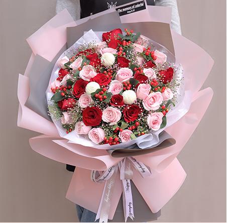 33朵粉红玫瑰鲜花速递生日北京上海广州深圳东莞清远珠海惠州厦门同城花店送花束