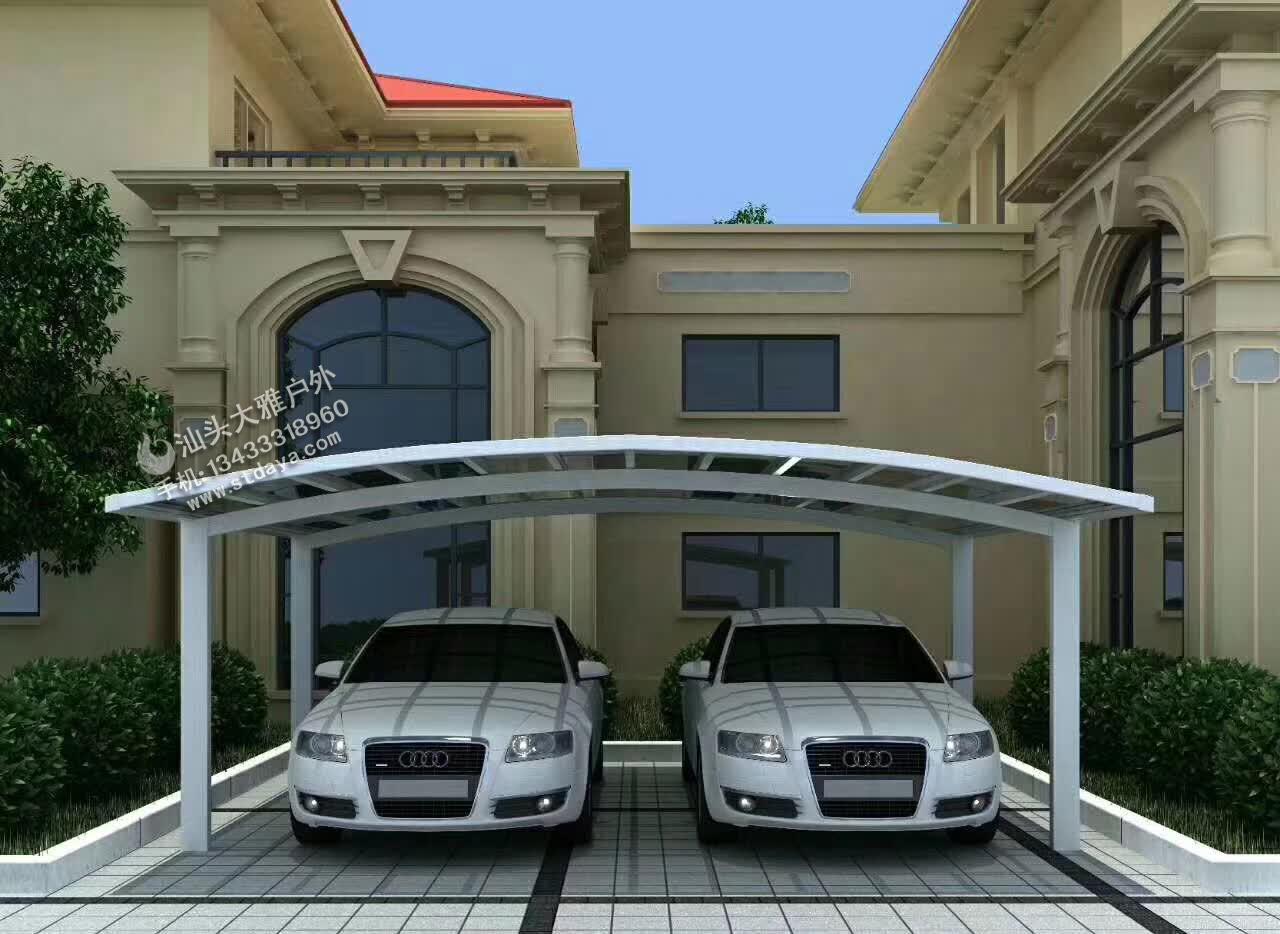 汕头车棚 别墅车棚 高端铝合金车棚 可抗12级台风高强度铝型材 高端铝合金雨棚