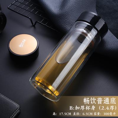 双层玻璃杯批发 耐热加厚透明水杯定制logo印字广告礼品杯子厂家
