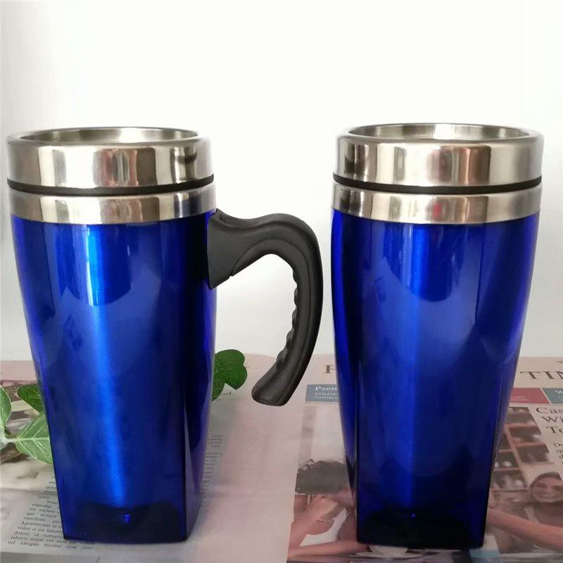 广东汽车杯方形汽车杯明震保温杯新款马克杯内钢外塑水杯户外旅行不锈钢杯