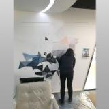 南京墙绘喷绘 3d立体画手绘墙装饰画金银箔画