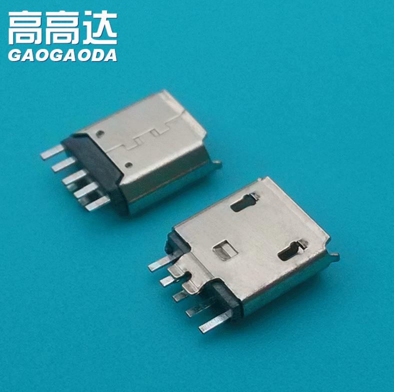 工厂供应micro USB焊线夹板1.0母座批发 PIN针铜USB连接器报价