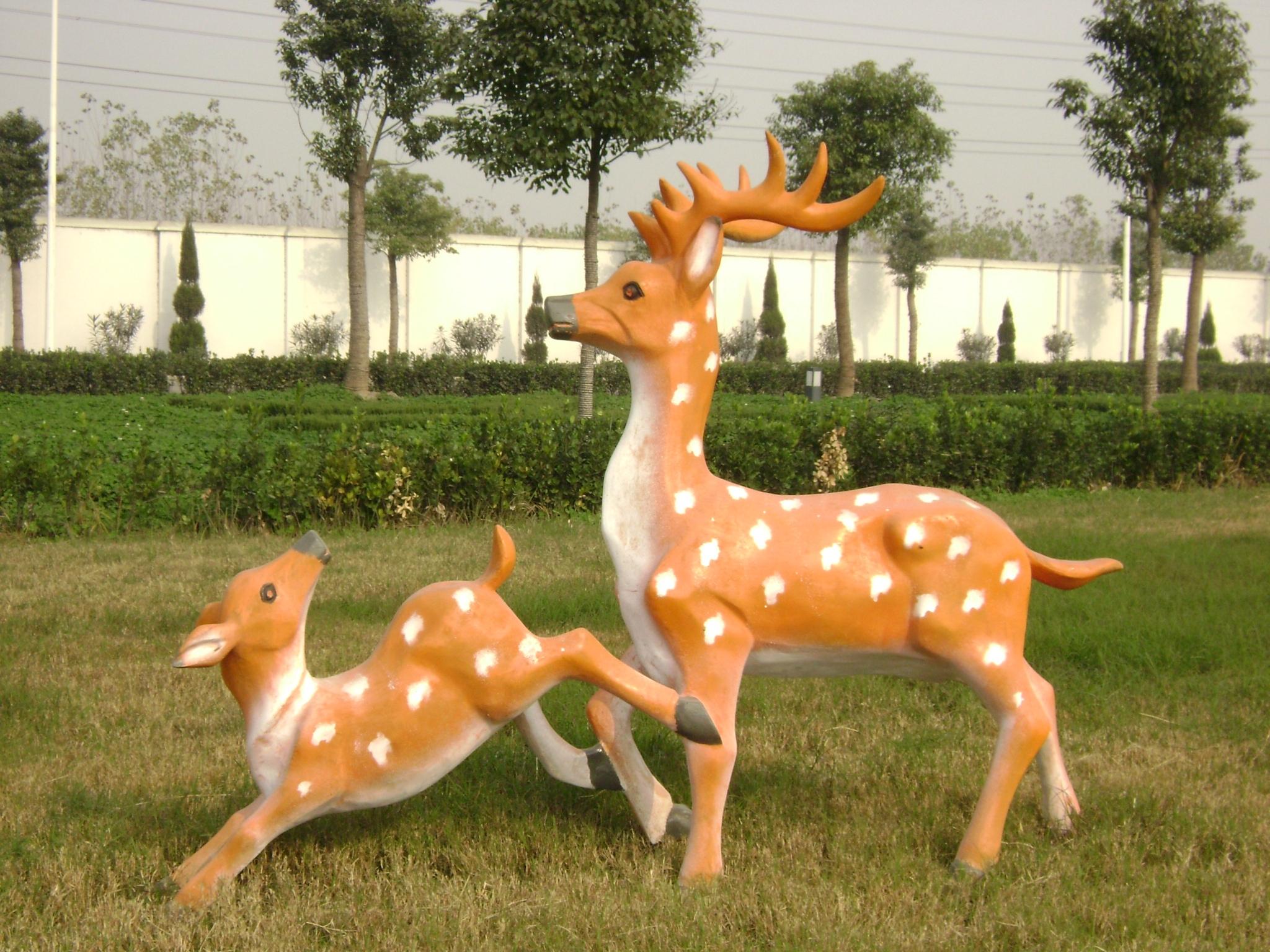 不锈钢雕塑鹿雕塑公园雕塑摆件